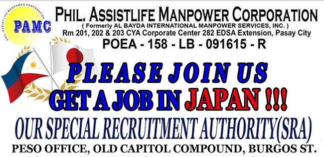 Job Fair by Philippine Assisstlife Manpower Corporation for Japan Vacancies